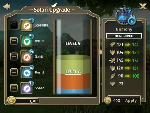 In-game screenshot of Upgrade menu in Moonrise.